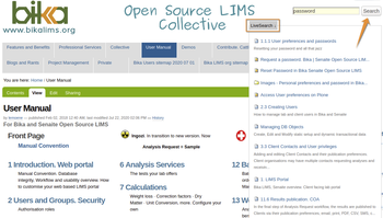 Bika Open Source LIMS Live Search pop-up page