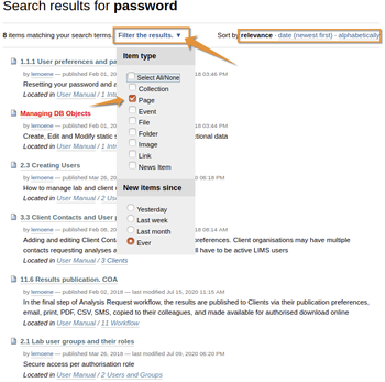 Search Results page with additional options in Bika Open Source LIMS