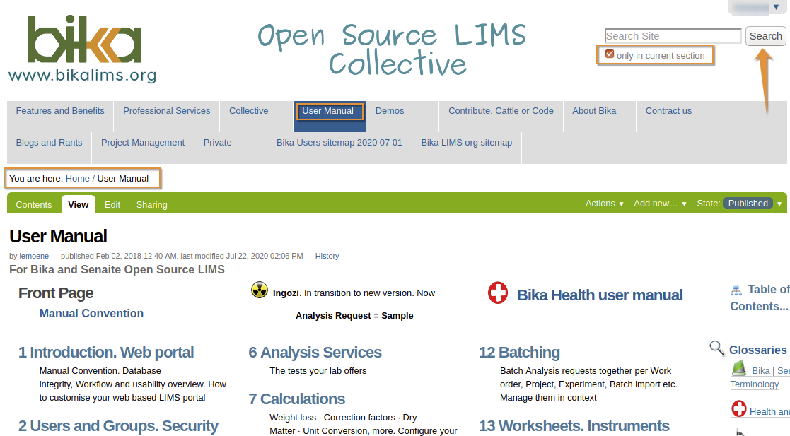 Search the Bika Open Source LIMS user manual