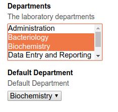 Lab Departments for Lab Contact. Bika Senaite