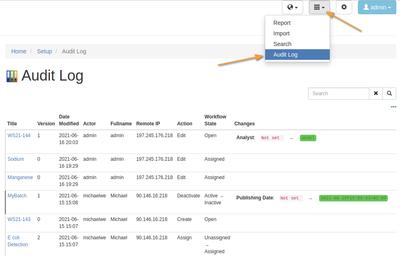 Global audit log in Bika Open Source LIMS