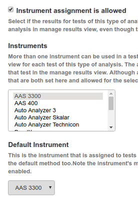 Select Analysis Service's default Instrument
