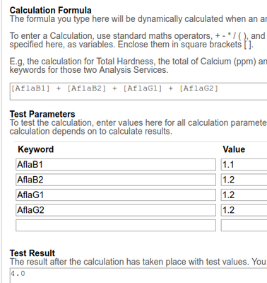 Analysis Result Calculation formula and Test function in Bika / Senaite Open Source LIMS