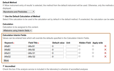 Calculation Interim field configuration on Analysis Service in Bika / Senaite Open Source LIMS