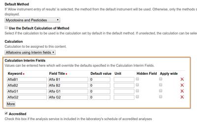 Calculation Interim field configuration on Analysis Service in Bika / Senaite Open Source LIMS