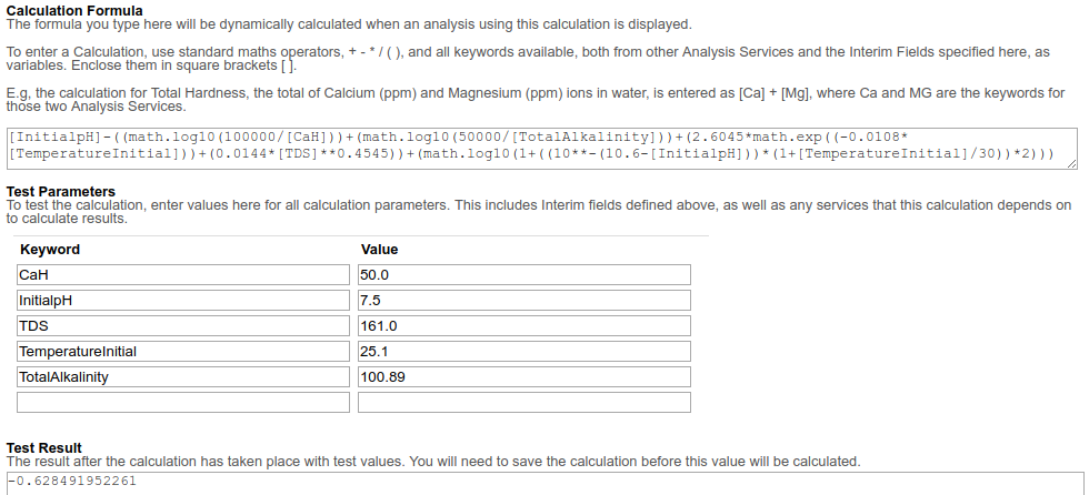Formula and Calculation test for Langelier Index as represented in