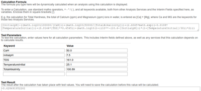 Formula and Calculation test for Langelier Index as represented in Bika Senaite