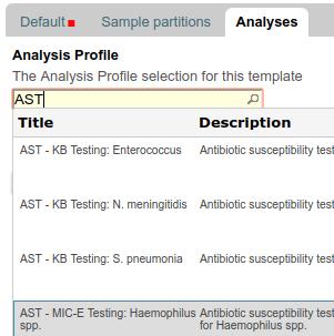 Analysis Profile selection for AR template in Bika | Senaite