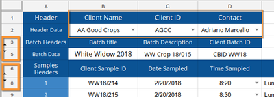 AR Import spreadsheet header in Bika LIMS Senaite