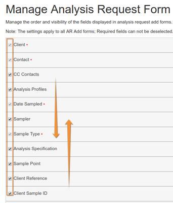 Manage Analysis Request Form fields detail. iBika LIMS Senaite