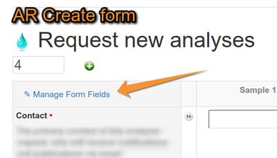 Manage Analysis Request Form fields in Bika LIMS Senaite