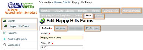 Client Details in Bika Senaite Open Source LIMS