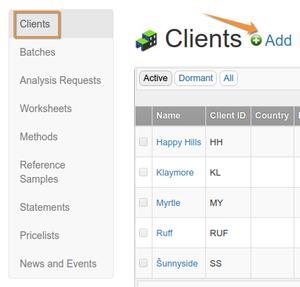 Client List in Bika Senaite Open Source LIMS
