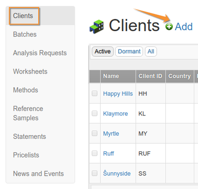 Client List in Bika Senaite Open Source LIMS