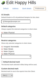 Client Preferences in Bika Open Source LIMS