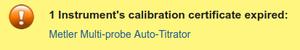 Expired Instrument Calibration Certificate Alert