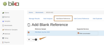 Add Blank reference sample to worksheet in Bika Open Source LIMS