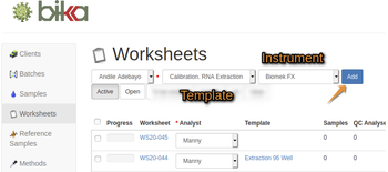 Add calibration Worksheet using a WS Template in Bika Open Source LIMS