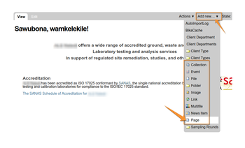 Add a new Web page on Open Source LIMS Senaite