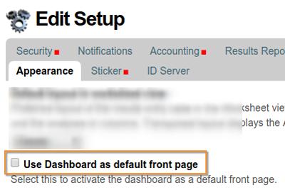 Select LIMS dashboard in Open Source Senaite