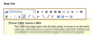 Visual editor TinyMCE in Open Source Plone based LIMS
