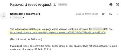 Password reset email in Bika Open Source LIMS
