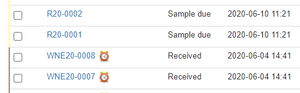Samples Due and Received in Bika Open Source LIMS lists and tables
