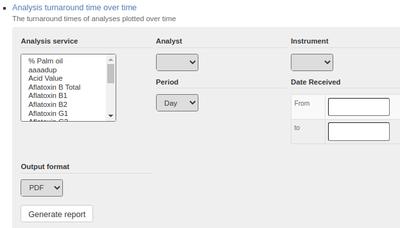 Analysis Turnaround Report parameters in Bika Open Source LIMS