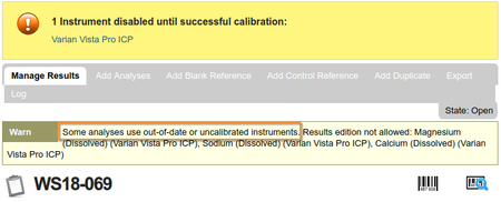 Instrument / Analysis Warning in Bika Open Source LIMS / Senaite