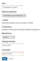 Reference Sample default page in Bika Senaite