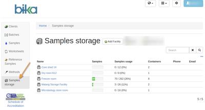 Storage facilities in Bika Open Source LIMS