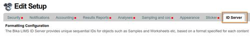 ID Server tab in Bika / Senaite Open Source LIMS setup