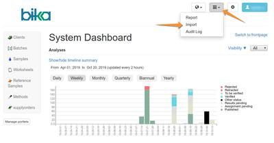 Import Setup data to Bika Open Source LIMS - Navigation
