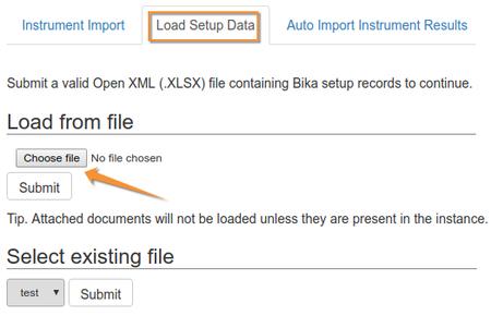 Import Setup data to Bika Open Source LIMS - Select XLSX
