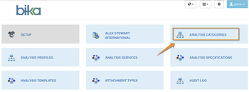 Select Analysis Categories in the Vika Open Source LIMS setup