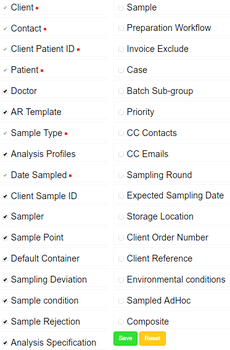 All Sample and Analysis Request attributes currently in Bika | Senaite Open Sourcer LIMS
