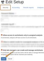 Restrict Bika Open Source LIMS Worksheet access