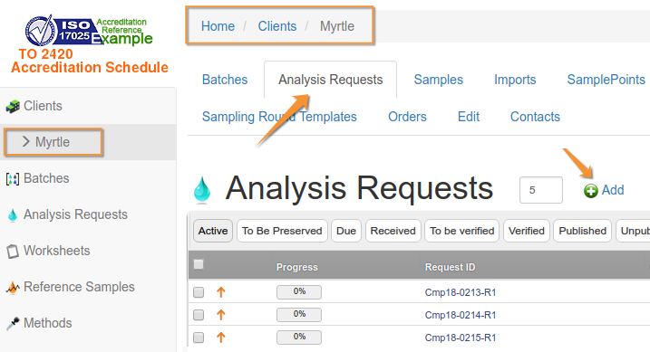 Add Analysis Request sans Batching in Bika and Senaite Open Source LIMS