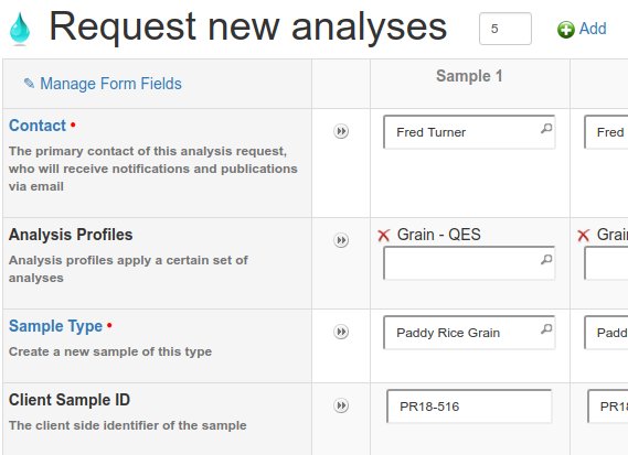 Analysis Request form sans Batching in Bika and Senaite Open Source LIMS