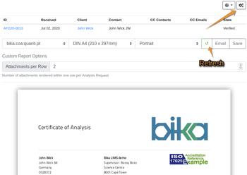 Access to COA PDF configuration in Bika Open Source LIMS