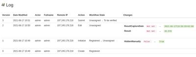 Analysis audit trail log in Bika Open Source LIMS