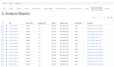 Client Analysis Reports tab in Bika Open Source LIMS