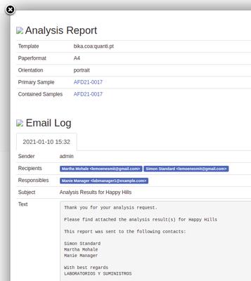 COA information pop-up in Bika Open Source LIMS