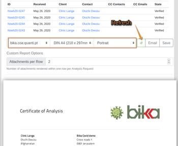 COA Publication preview in Bika Open Source LIMS