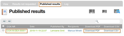 Published COAs on an Analysis Request in Bika and Senaite Open Source LIMS