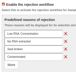 Configure the Sample Rejection workflow in Bika Open Source LIMS