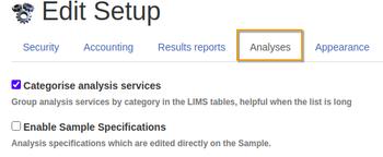 Global setup - Analysis tab
