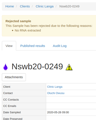 Rejected Sample view in Bika Open Source LIMS