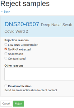 Sample rejection form in Bika Open Source LIMS