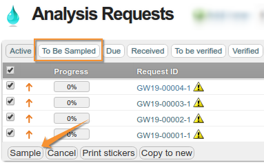 Sample action in Bika / Senaite Open Source LIMS from Analysis Request list